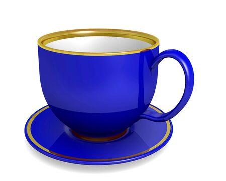 Blue cup on the white background, illustration illustration