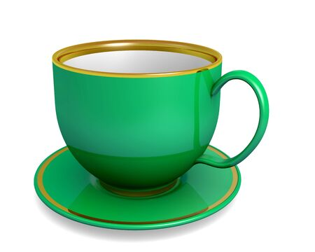 Green cup of tea on the white background photo