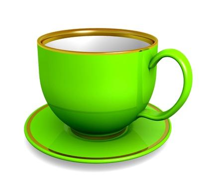 Cup, green color over white. 3d illustration illustration