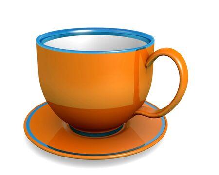 Cup, orange color over white. 3d illustration. illustration