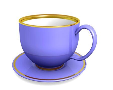 Cup, violet color over white. 3d illustration illustration