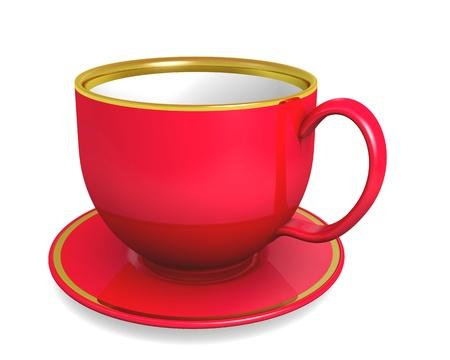 Cup, red color over white. 3d illustration illustration