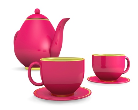 cups with teapot over white, 3d illustration