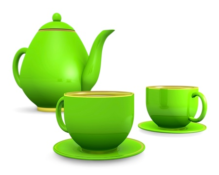 cups with teapot over white, 3d illustration illustration