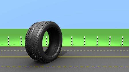 Wheel on the road, abstrct 3d illustration illustration