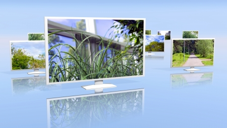 Group of LCD displays with picture galleries Stock Photo