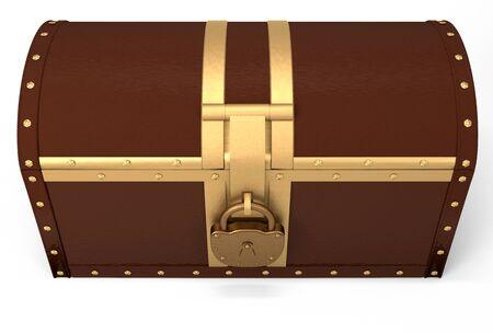 coffer: Closed treasure chest over white, 3d illustration