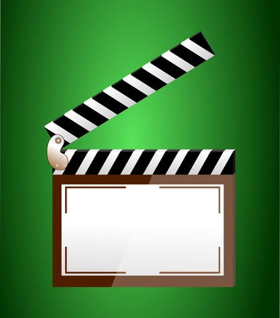 clicker: cinema clapper with blank field over green background