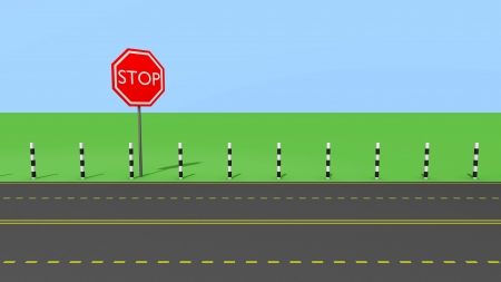 Stop sign on the road, abstrct illustration illustration