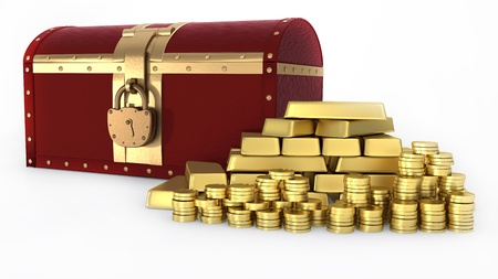 Treasure chest and Gold ingot and money photo