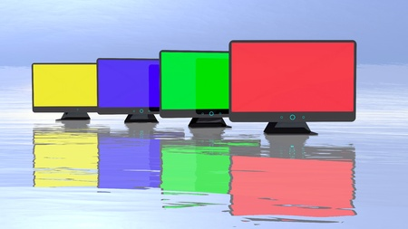 Abstract colorful monitors group, 3d illustration background illustration