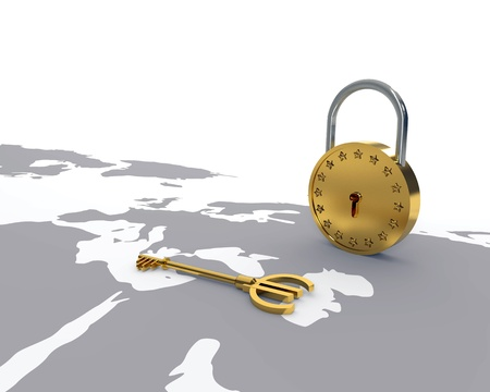 Gold Euro key and lock over world map photo