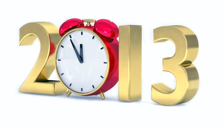 New Jahr 2013 Konzept mit roten Uhr Standard-Bild