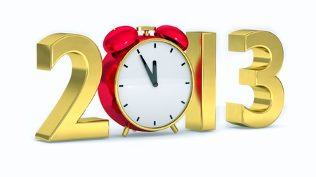 New year 2013 concept with red clock Stock Photo - 15099023