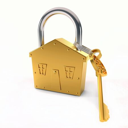 Bronze lock - house shape symbol over white background Stock Photo - 15151131