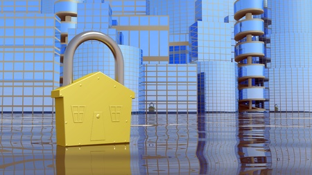 City background with lock. abstract business concept