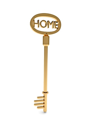 Gold Key With Home Text As Symbol For Property And Ownership