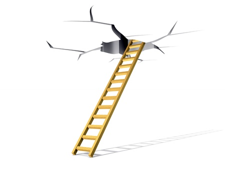 Lifting on a ladder in a crack in a ceiling Stock Photo