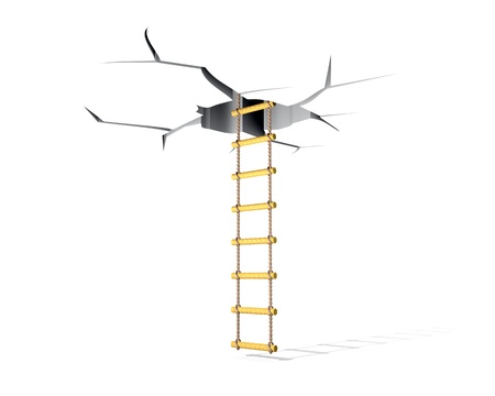 crack climb: Lifting on a ladder in a crack in a ceiling Stock Photo