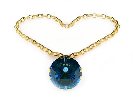 collares: Colgante de oro aislado en el fondo blanco Foto de archivo