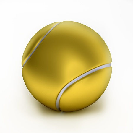 metal ball: Close up of gold tennis ball, 3d-illustration