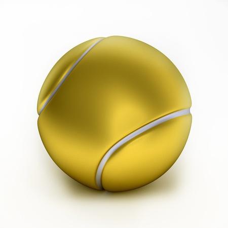 Close up of gold tennis ball, 3d-illustration