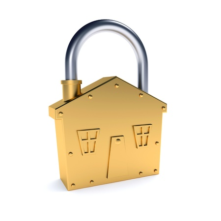 Bronze lock - house shape symbol over white background photo