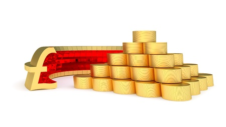 golden pyramid of coin and pound sterling symbol Stock Photo