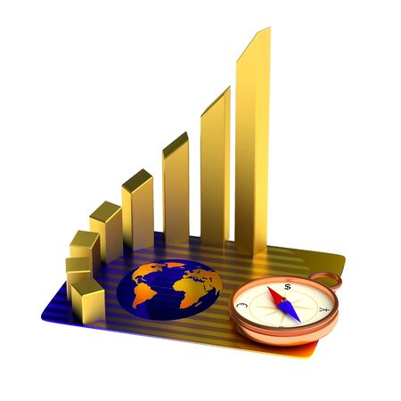 gold bar earn: Business concept: credit card, gold chart, compass Stock Photo