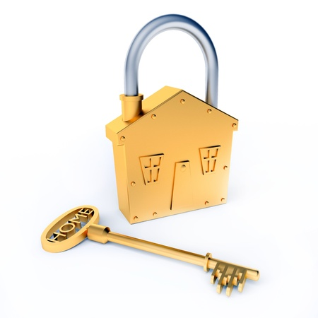 Lock and Key With Home Text As Symbol For Property Stock Photo - 15528304