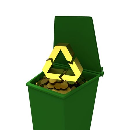 Coins in recycling container, business concept illustration illustration