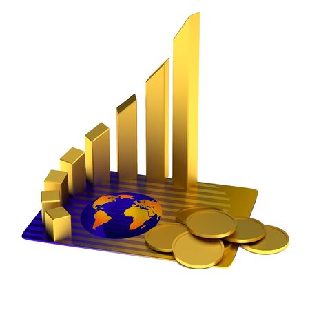 gold bar earn: Business concept: credit card, gold chart, coins
