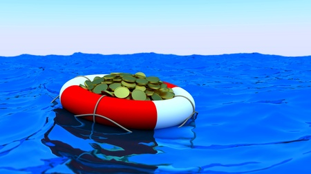 Concept of rescue of money. Coins in lifesaver. Stock Photo