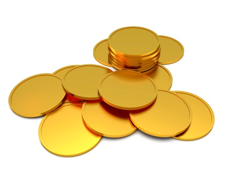coins shot in golden color: Gold coins isolated on the white background