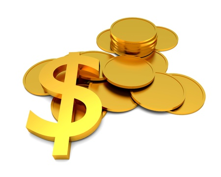 Dollar sign and coins on the white background