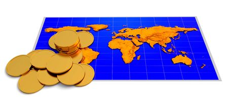 Coins over world map on the white background photo