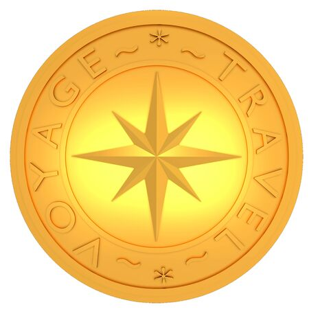 Gold stamp with compass and the text Voyage and Travel