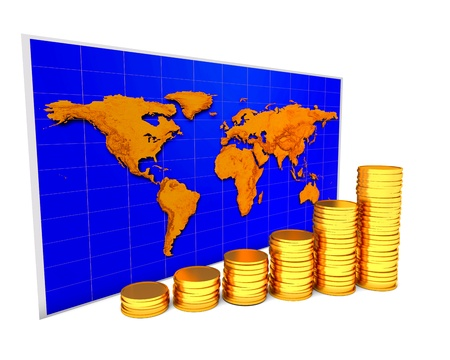 Coins chart over world map on the white background photo