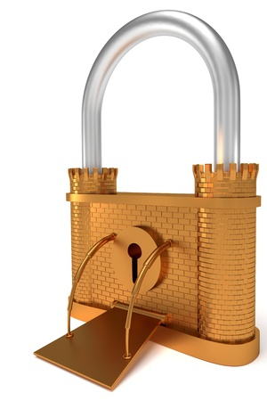 Bronze lock - fortress shape symbol over white background photo