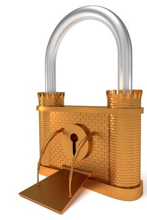 Bronze lock - fortress shape symbol over white background Stock Photo