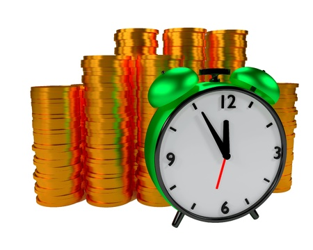 Alarm clock and coins on ywhite background Stock Photo - 15870860