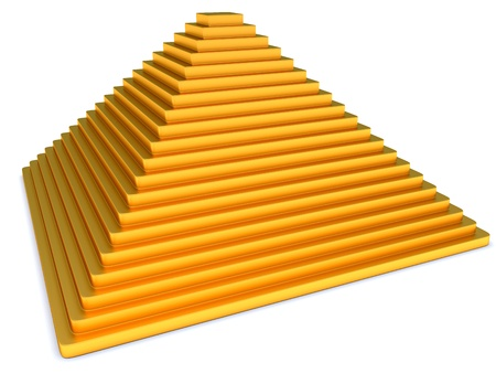 proportion: Abstract Golden pyramid on the white background