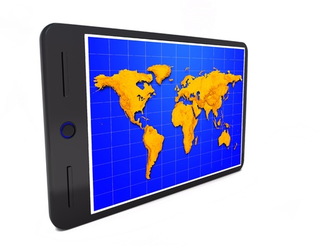 umpc: Tablet pc wiht world map on the white