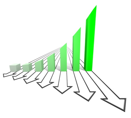Arrowed business chart isolated on the white Stock Photo