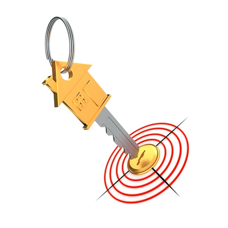 Gold key and target isolated on the white background Stock Photo - 16806045