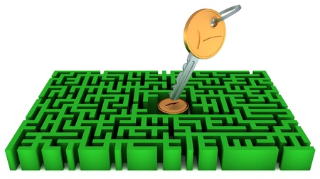 Key, lock and green maze isolated over white Stock Photo - 17076010