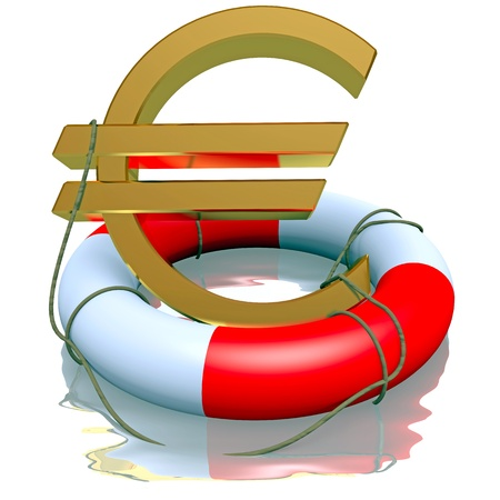 Euro symbol in life-buoy reflected on a white Stock Photo - 17681345