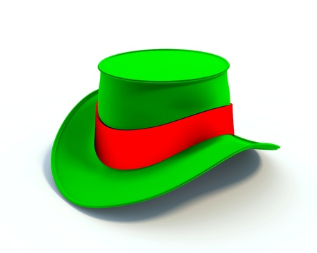 hatband: Colorful hat, 3d illustration - object over white.