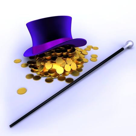 hat full of gold coins and cane Stock Photo