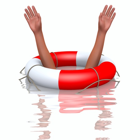 Rescue buoy and drowning hands, concept of helping Stock Photo